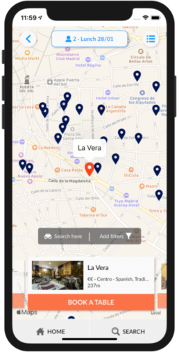 Search restaurant by location
