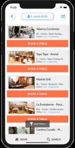 List of available restaurants
