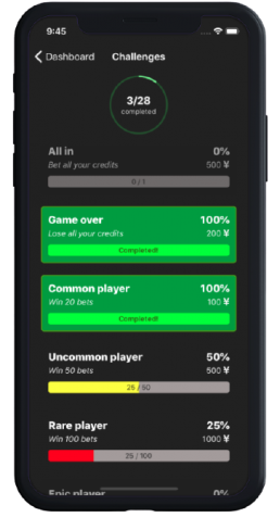 App challenges and progress with gamification